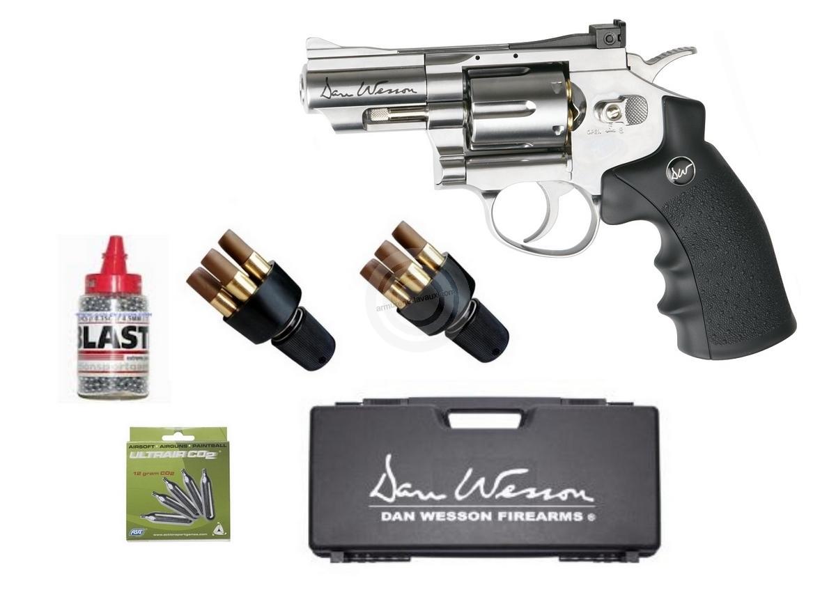 5bdc141d45ddca Revolver à billes Co2 DAN WESSON 2.5   Nickelé cal.4,5mm ASG   Pack ...