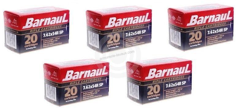 BARNAUL cal.7.62x54 R Soft Point (lot de 5 boites)