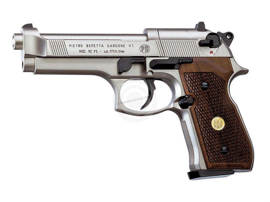 Pistolet BERETTA 92 FS 'WOOD' Nickelé 5'' UMAREX Cal 4.5mm