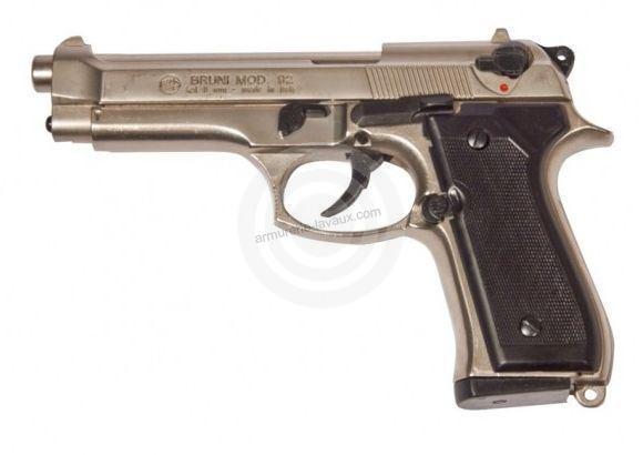 Pistolet d'alarme BRUNI 92 Nickelé Cal.9mm