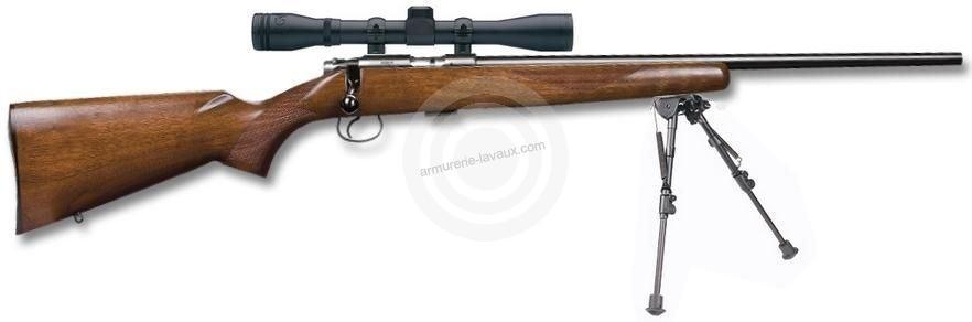 Carabine 22LR CZ 455 American avec lunette BAUER 3-9x40 et bipied HARRIS