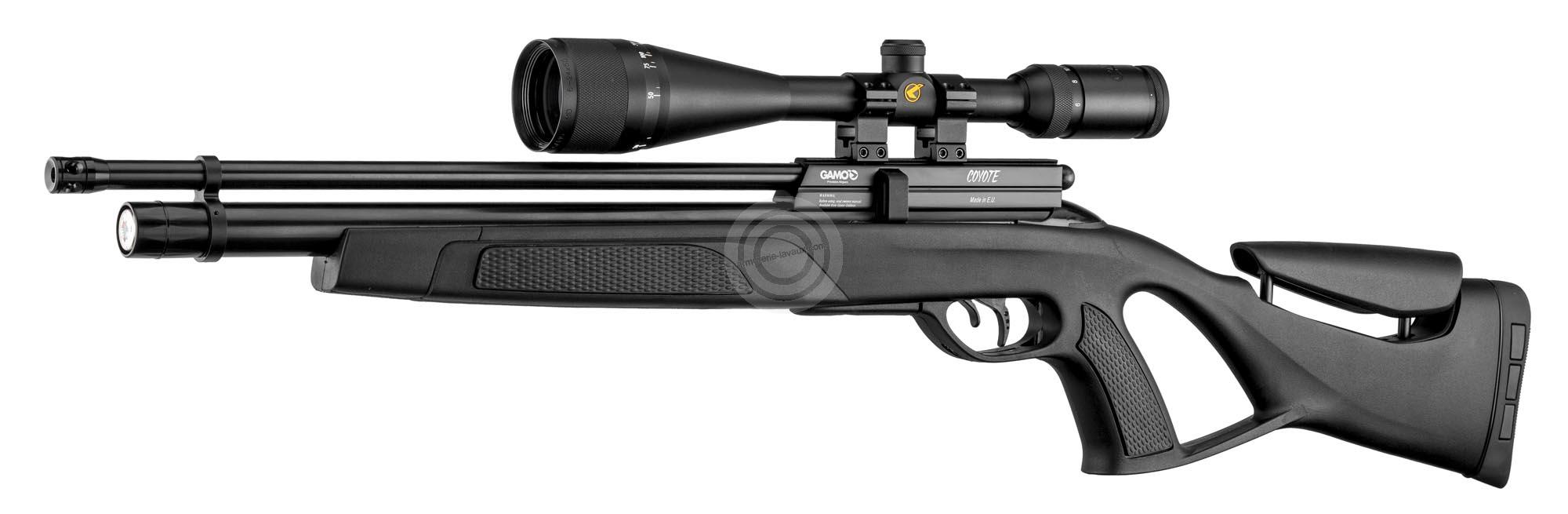 Carabine PCP GAMO Coyote Synthétique (40 J) cal.5,5mm avec lunette GAMO 6-24x50 et pompe