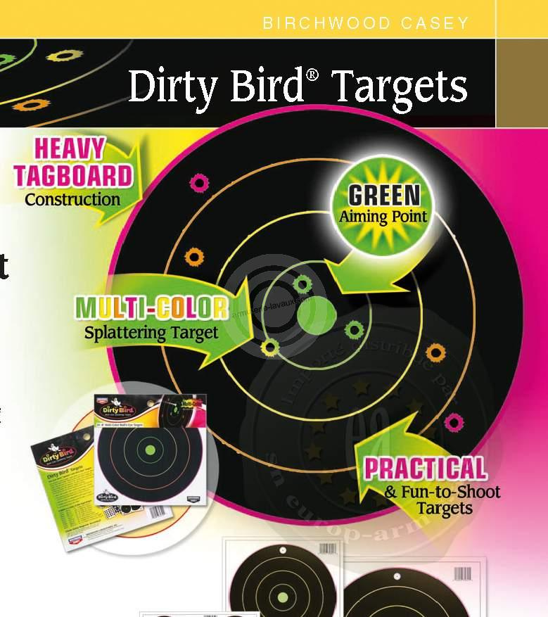 Cibles 20x20 BIRCHWOOD Dirty Birds Multicolors (paquet de 20)
