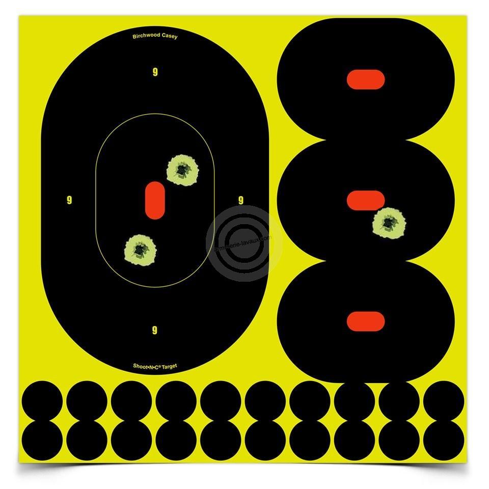 Cibles adhésives ovales 23cm - 12cm BIRCHWOOD Shoot (paquet de 20)