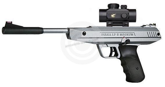 Pistolet à plombs Diana LP 8 Magnum Silver avec point rouge BZ30 (7,5 joules)