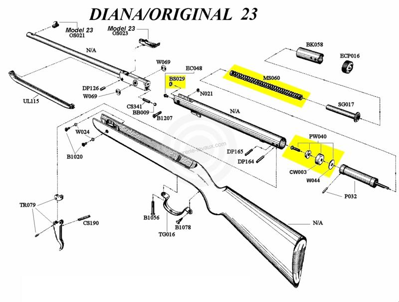 kit de compression diana carabine mod.22 - 23 - armurerie ... diana model 34 parts diagram #15