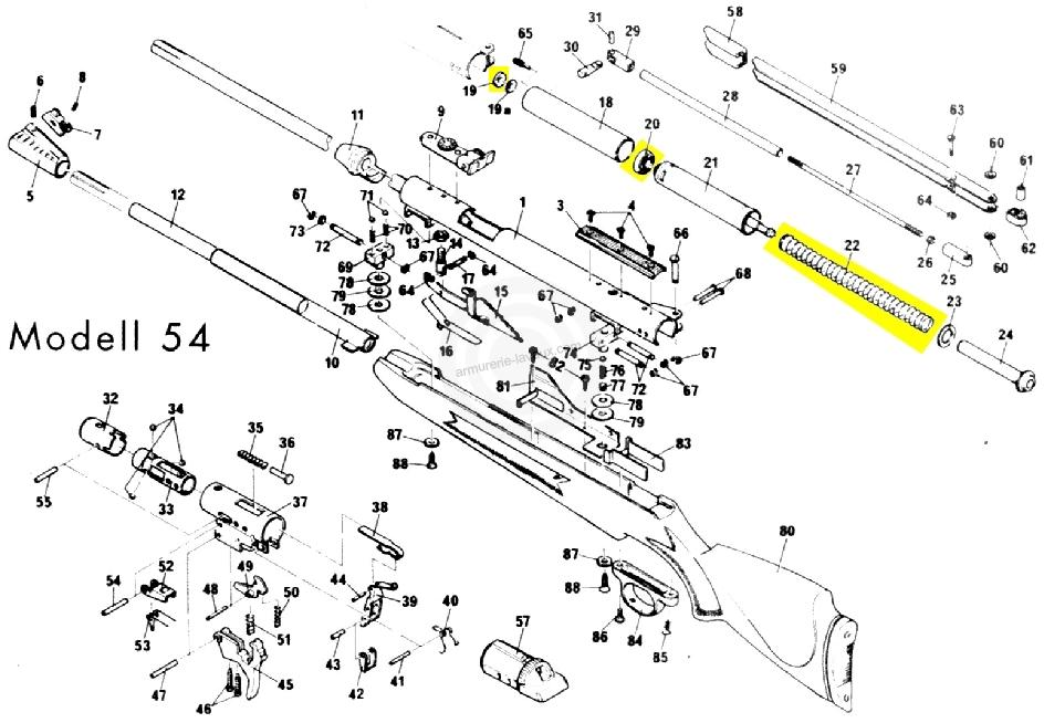 kit de compression diana carabine mod 48 - 52 - 54