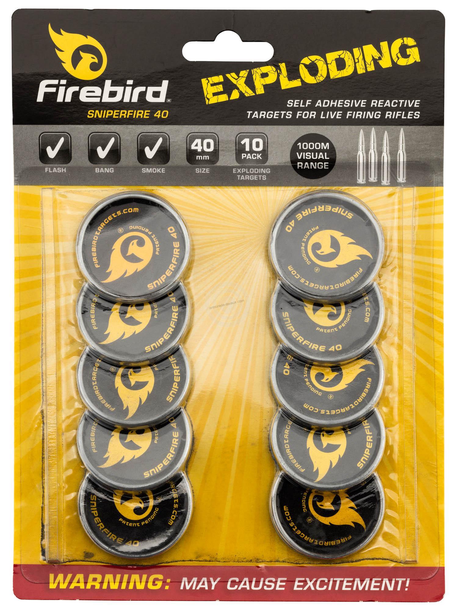 Cibles FIREBIRD détonnantes et réactives 40mm