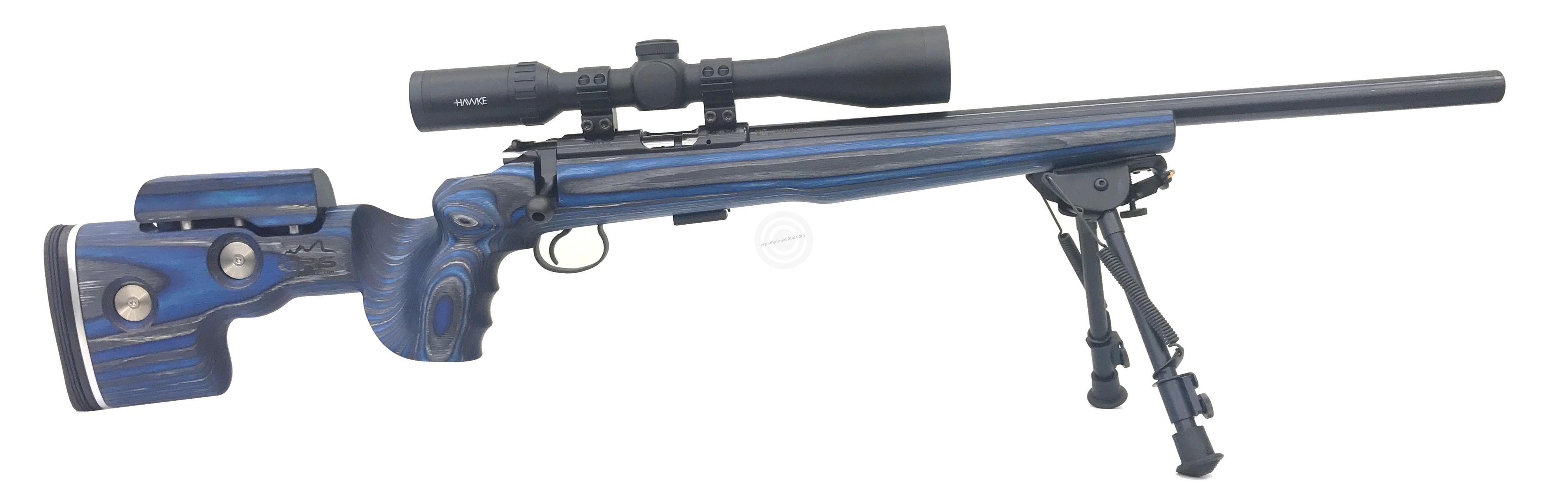 Carabine 22LR CZ 455 Varmint GRS Bleue avec lunette HAWKE Varmint 6-24x44 Half Mildot