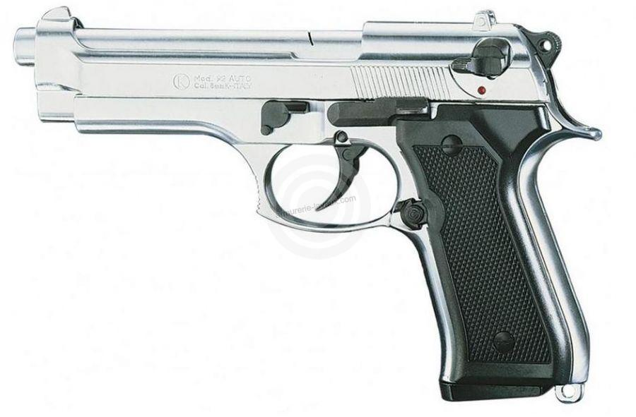 Pistolet d'alarme KIMAR 92 Auto Nickelé Cal.9mm PA