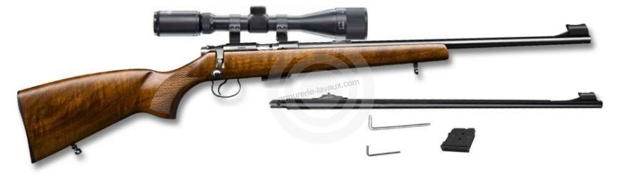 Carabine 22LR CZ 455 Luxe avec lunette LYNX Varmint 6-24x42 AO et 1 canon 17 HMR