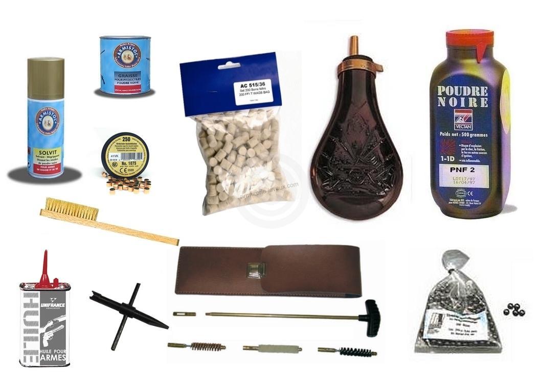Kit DELUXE prêt à tirer pour Revolver Poudre Noire Cal.36