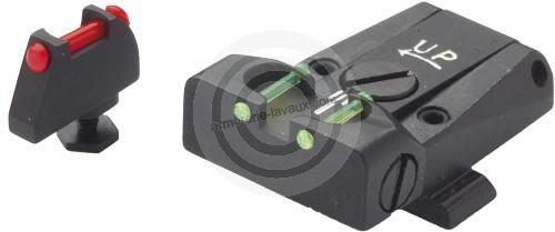 Hausse et guidon Fibre Optique LPA GLOCK 17 à 34
