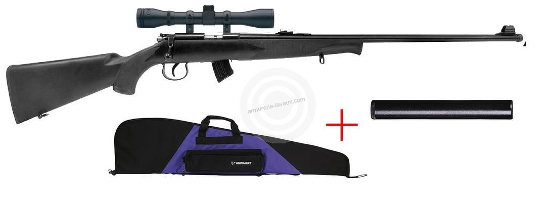 Carabine 22LR NORINCO JW15 Synthetique avec lunette LYNX (Kit Housse et Silencieux SAI)