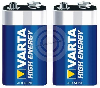 Blister de 2 Piles VARTA 9 volts 6LR61
