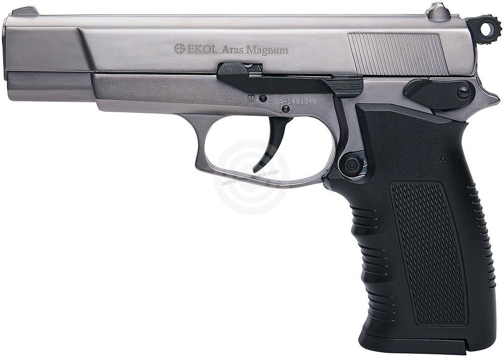 Pistolet d'alarme EKOL Aras mod.75 Auto Chromé Cal.9mm PA