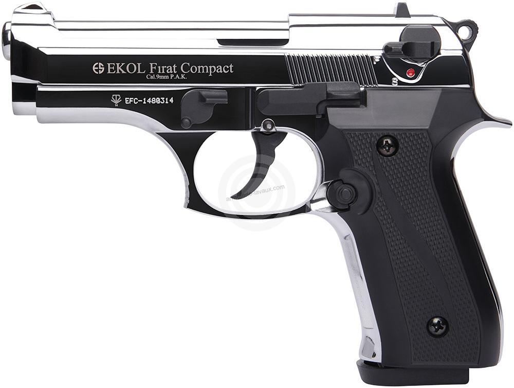 Pistolet d'alarme EKOL Firat Compact mod.92 Auto Chromé Cal.9mm PA