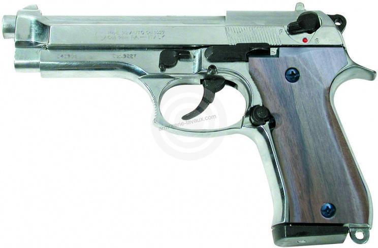 Pistolet d'alarme KIMAR 92 Auto Nickelé Bois cal.9mm PA