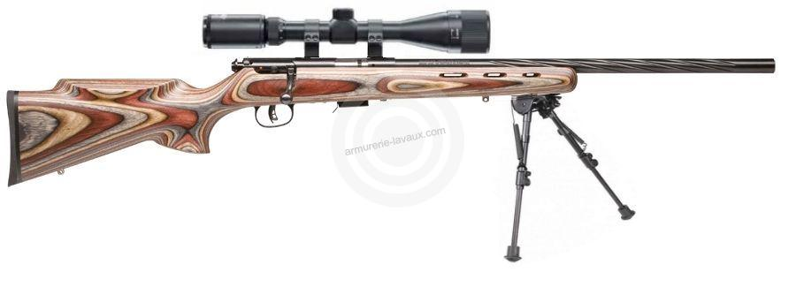 Carabine 22LR SAVAGE Varmint Lamellé Flutage Spiral MARK II BRJ avec lunette LYNX Varmint 6-24x42 AO ''Kit SNIPER HARRIS''