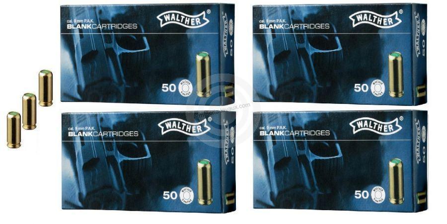 Cartouches 9mm PISTOLET à blanc/200 WALTHER (Lot de 4 boites de 50)