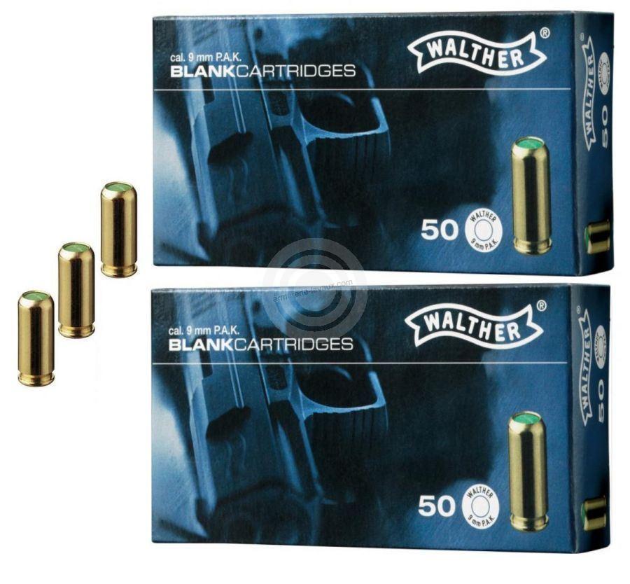 Cartouches 9mm PISTOLET à blanc/100 WALTHER (Lot de 2 boites de 50)