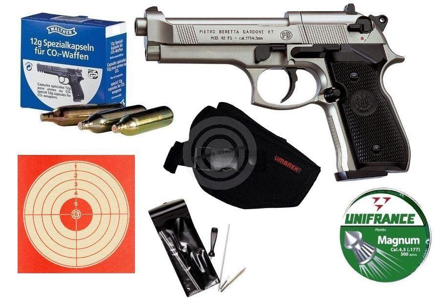 Pistolet BERETTA 92 FS 5'' Nickel� ''Pack LUXE'' UMAREX cal. 4.5mm