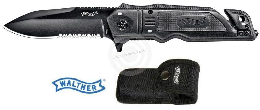 Couteau WALTHER RESCUE Noir avec étui