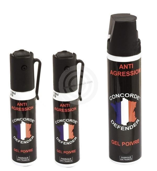 Ensemble Bombe défense lacrymogène GEL POIVRE