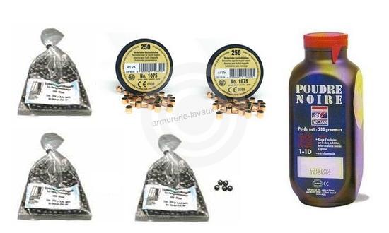 Kit cal.44 Poudre noire PNF2 - 300 balles HN 450 - 500 amorces cannelées