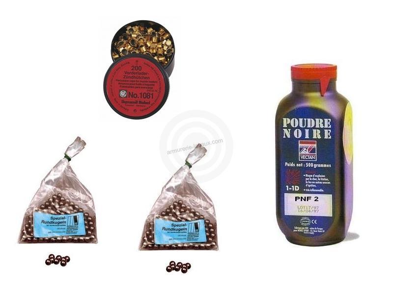 Kit cal.45 Poudre noire PNF2 - 100 balles HN 457 - 200 amorces à aillettes