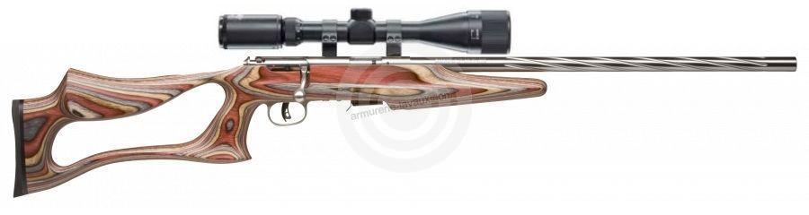Carabine 22LR SAVAGE Varmint Lamellé Stainless Flutage Spiral MARK II BSEV avec lunette LYNX Varmint 6-24x42 AO ''Kit SNIPER''