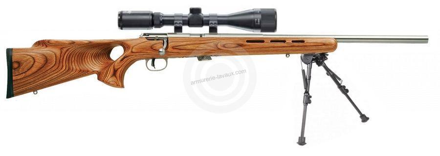 Carabine 22LR SAVAGE Varmint Lamellé Thumbhole Stainless MARK II BTVSS avec lunette LYNX Varmint 6-24x42 AO ''Kit SNIPER HARRIS''