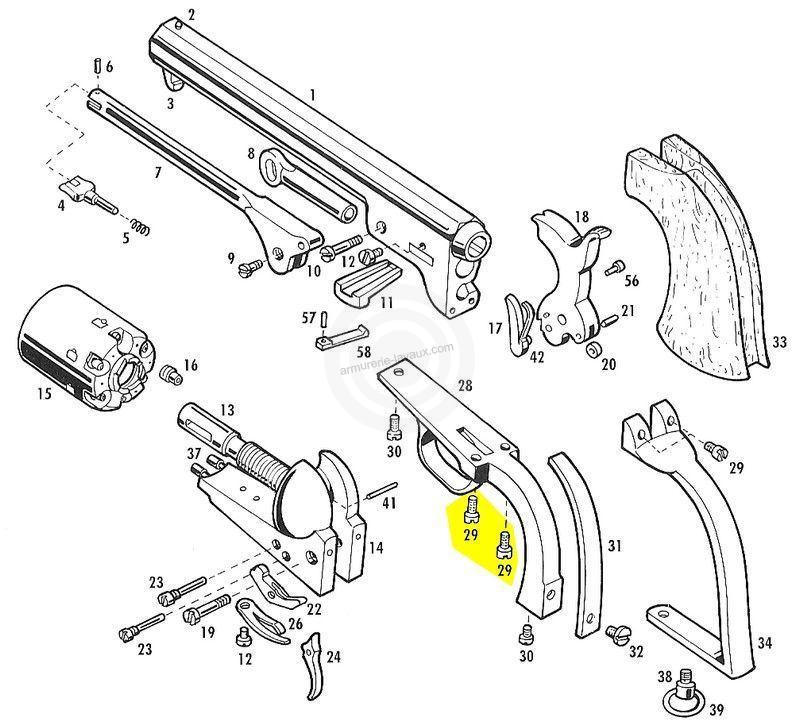 Vis arrière de pontet et d'armature PIETTA Colt (lot de 2)